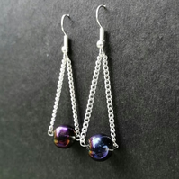 Metallic bead and silver chain drop earrings