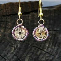Gold spiral and tiny pink beads dangle earrings, spiral drop earrings