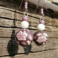 Lilac, white, and purple flower bead stack drop earrings