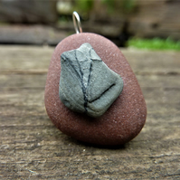 Pendant - dark red sea stone with grey black tree beach pebble
