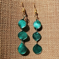 Fun bright turquoise circles dangle earrings
