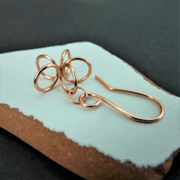Dainty copper flower small dangle earrings