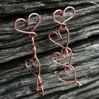 Copper love hearts chain stud earrings, valentine's day gift