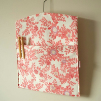 Handmade vintage floral fabric peg bag in raspberry pink SALE