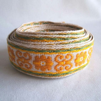 Vintage fabric scroll trim in mustard yellow and sage green 4 yards