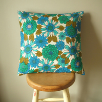 Handmade vintage fabric cushion cover in turquoise and cobalt blue