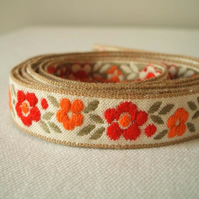 Vintage posy flower trim in crimson and orange 3 yards