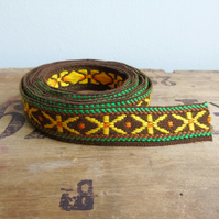 Vintage fabric trim in chocolate brown, bright yellow and green 2 yards