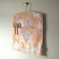 Ecofriendly handmade vintage fabric peg bag in coral pink SALE