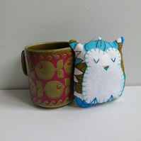 SALE Owl decoration handmade with turquoise and blue vintage fabric