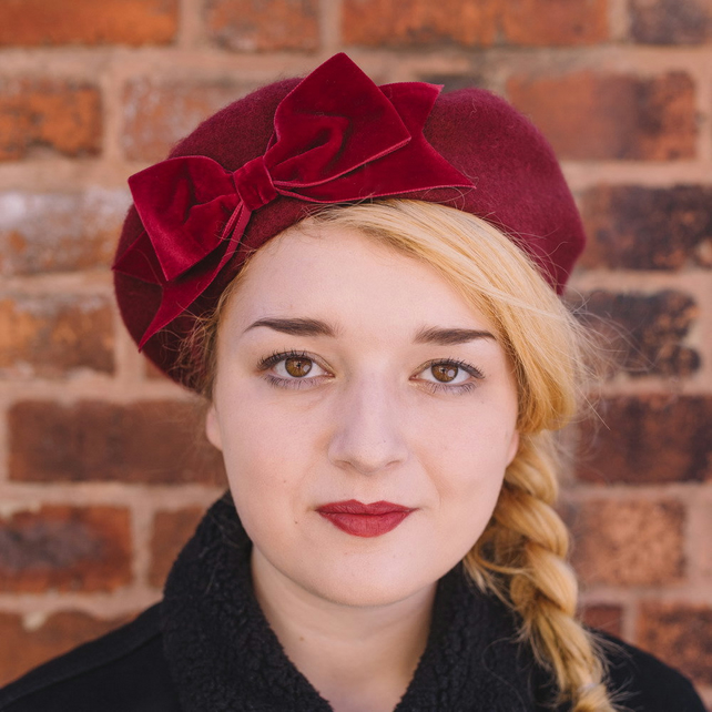 Burgundy Beret with Burgundy Velvet Ribbon Bow