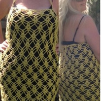 Beautiful Sunny Days Convertible Lace Crochet Dress, as halter, straps or skirt