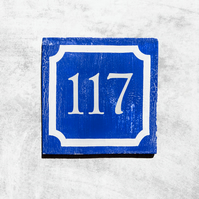 Blue and White Cracked Paint House Number
