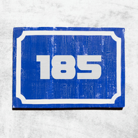 Blue and White Cracked Paint House Rectangle Number