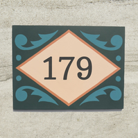 Green Folky House Number