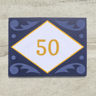 Blue Folky House Number Sign
