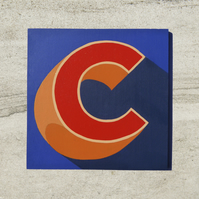 Hand-painted Letter C Intial Sign