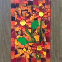 Abstract Flower Stained Glass Mosaic Picture or Window Hanging.