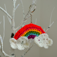 Handmade Hope Rainbow With Clouds Keyring