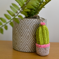 Tall Striped Cactus Keyring Keychain Bag Accessory