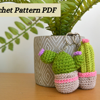 Cute Cactus Keyring Crochet Pattern with Two Variations