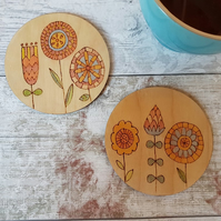 2 Scandi Floral Coasters