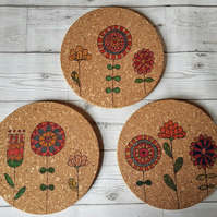 Set of 3 'Scandi' Floral Cork Place Mats