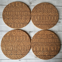 Set of 4 Geometric Print Cork Place Mats