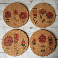 Set of 4 'Scandi' Floral Cork Place mats