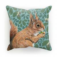 Red Squirrel Oak Cushion - Vintage Aqua