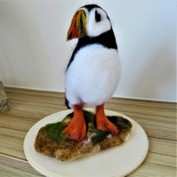 Wool felted puffin