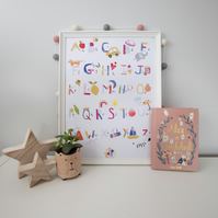 A to Z colourful learning alphabet print for nursery room, A3 sized