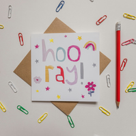 Hooray celebration card, super fun and cute collage, Congratulations card