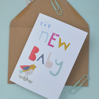 New baby Unisex greeting card with cute collaged bird, To welcome little ones