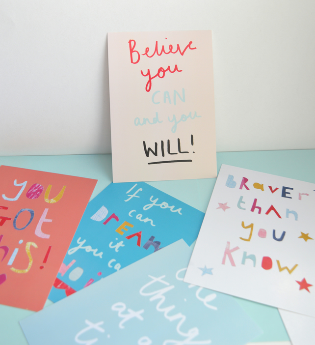 Pack of 5 inspirational positive quotes postcard prints size A6