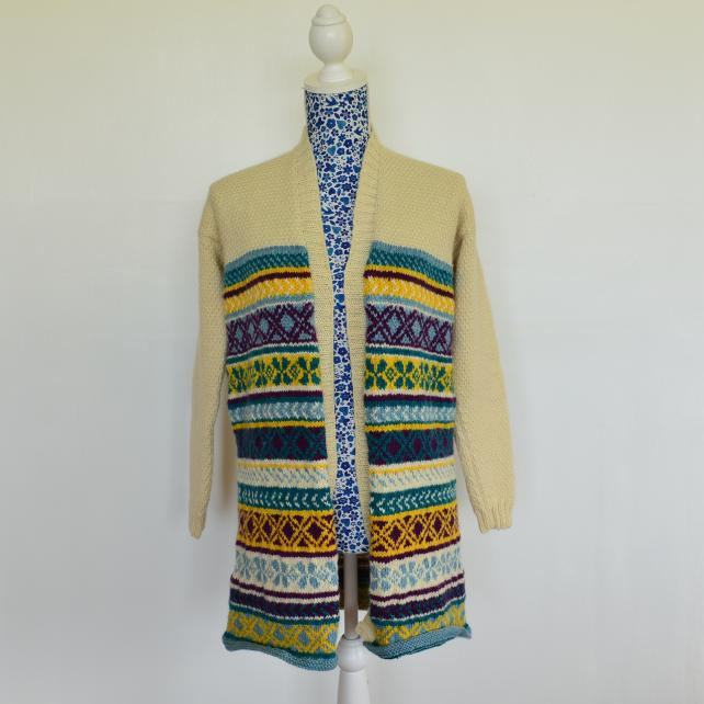Hand Knitted Fairisle Jacket featuring Hand Dyed Bluefaced Leicester Wool