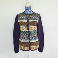 Hand Knitted Fairisle Cardigan in British Wool and Alpaca