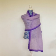 Crocheted Hand Dyed, Mohair Shawl