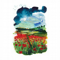 'Poppy field' - Inkjet and Giclee Prints A4 - After Original Watercolour