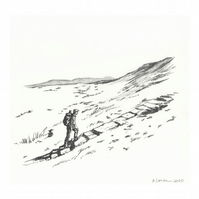 'The hiker 2' - Original Graphite Drawing 14x15 cm Pencil on Paper