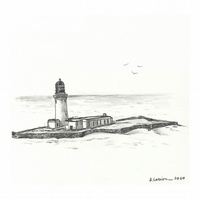 'The lighthouse' - Original Graphite Drawing 14x15 cm Pencil on Paper