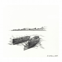 'The sister boats' - Original Graphite Drawing 14x15 cm Pencil on Paper