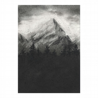 'Mountain in black and white' - Original Charcoal Drawing on Paper 10.5 x 15 cm