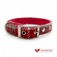 Red Check 'Harris Tweed' Dog Collar
