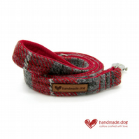 Red Check 'Harris Tweed' Dog Lead