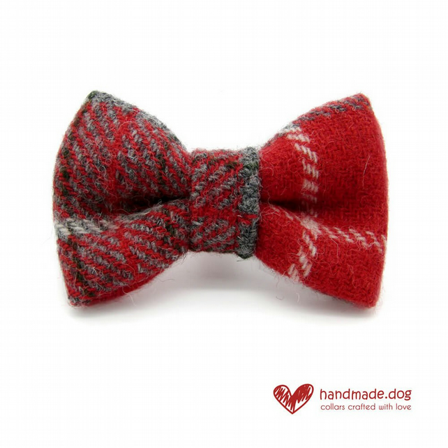 Red Check 'Harris Tweed' Dog Bow Tie