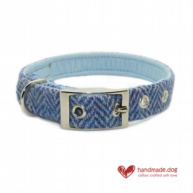 Blue Herringbone 'Harris Tweed' Dog Collar