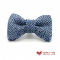 Blue Herringbone 'Harris Tweed' Dog Bow Tie