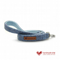 Blue Herringbone 'Harris Tweed' Dog Lead