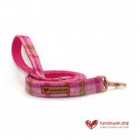 Pink Check 'Harris Tweed' Dog Lead